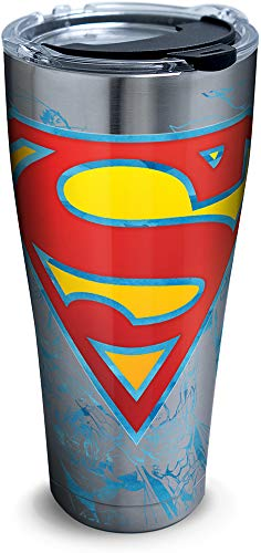 Tervis 1312114 DC Comics - Superman Lineage Stainless Steel Insulated Tumbler with Lid, 30 oz, Silver