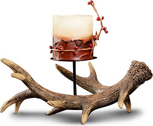 Rustic Faux Deer Antler Short Pillar Candle Holder - ChristmasTablescapeDecor.com
