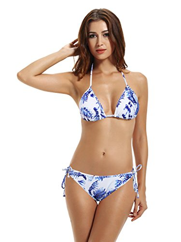 Zeraca Women's Tie Side Bottom Triangle Bikini Swimsuits (S6, Greece Vibes)
