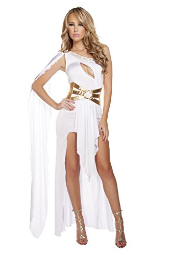 Egyptian Roman Greek Costumes (Roma Costume Women's 2 Piece Grecian Babe, White/Gold, Medium/Large)