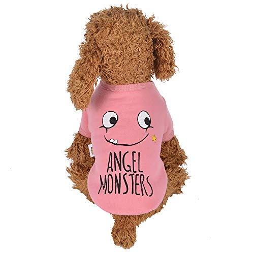 Cywulin Pet Dog Cat Coat Winter Cold Weather Small Pet Wear Emoji Warm Sweater Clothes Puppy Vest Costume Apparel Outfits (Pink, -