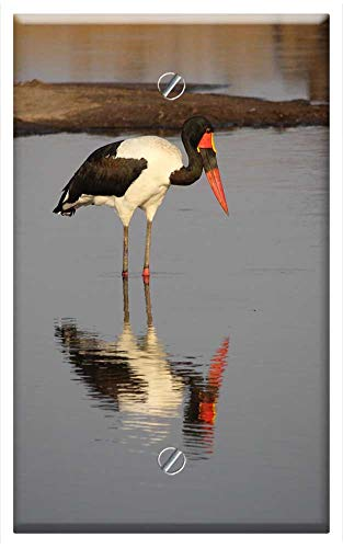 Saddle Billed Stork - Single-Gang Blank Wall Plate Cover - Saddle Billed Stork Zimbabwe Bird Africa Wildlife