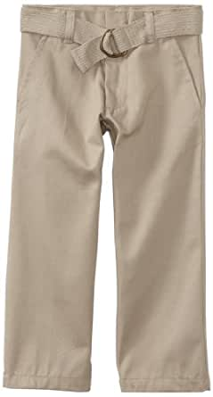 U.S. Polo Assn. School Uniform Big Boys' Flat Front Belt And Pant Set, Khaki, 8