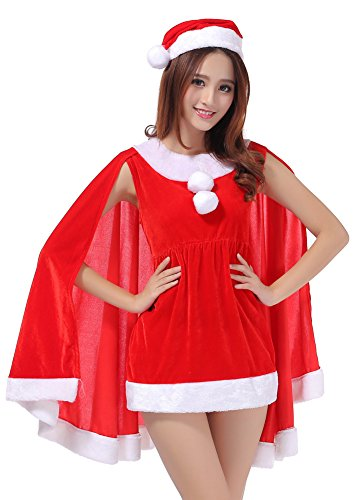 [Womens Velvet Christmas Hooded Cape Cloak Costume Mini Dress Red] (Nutcracker Costumes For Sale)