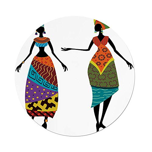 Polyester Round Tablecloth,African Woman,Tribal Ladies in Traditional Costume Silhouettes Ethnicity Elegance Vintage Decorative,Multicolor,Dining Room Kitchen Picnic Table Cloth Cover,for Outdoor Ind -