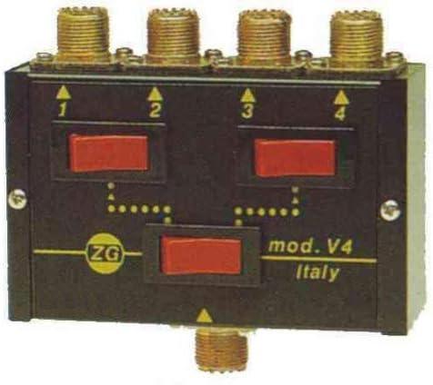 Zetagi V-4 - Conmutador de Antena (4 entradas, hasta 500 W)