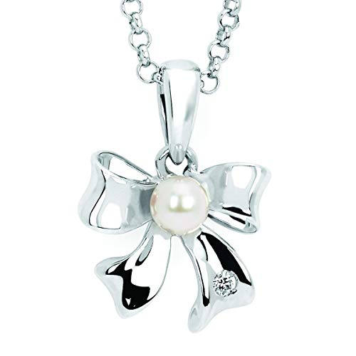 (Little Diva Diamonds 925 Sterling Silver .01 Ctw. Diamond Accent & Pearl Bow Pendant Necklace with 16