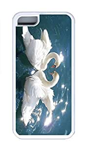iPhone 5C Case, Personalized Custom Rubber TPU White Case for iphone 5C - Love Swans Cover