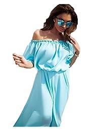 YOUJIA Off Shoulder Chiffon Beach Maxi Dress Party Family Matching Outfits