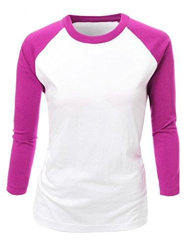 T-shirt Raglan Tone (Basic Solid Two Tone Raglan 3/4 Sleeves Top Hot Pink Size M)