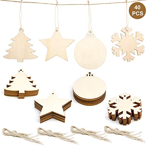(40Pcs 4-Style Unfinished Christmas Ornaments, Colovis Christmas Wooden Slices Hanging Ornament with Holes Kids DIY Craft Wood Discs Cutouts with Jute Twine for Christmas Wedding Holiday Party Decor)