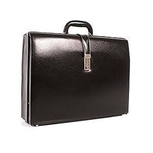Deluxe Leather Grain Faux Executive Attache Case Briefcase Gladstone Flight Bag