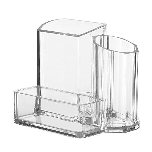Modern Compact Clear 3 Compartment Office Supplies Desktop Organizer Caddy, Pencil (Plastic Desk Pen)