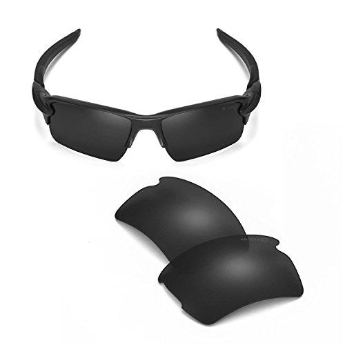 Walleva Replacement Lenses For Oakley Flak 2.0 XL Sunglasses - 14 Options Available (Black - Mr. Shield - Mr Sunglasses