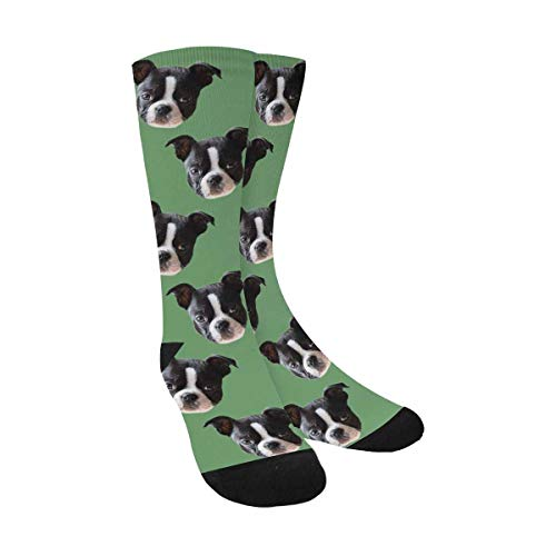 Custom Faces Print Sublimated Crew Socks Green Funny Photo Socks Birthday Gifts