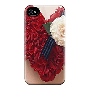Top Quality Protection Red Petals Heart Love Case Cover For Iphone 4/4s