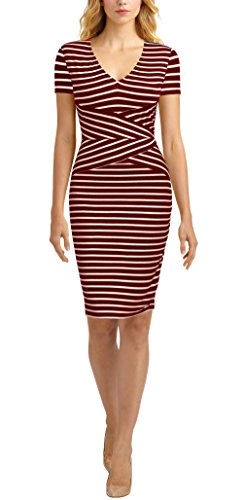 Mmondschein Women Short Sleeve Striped Wear to Work Business Pencil Dress (M, Burgundy) by Mmondschein