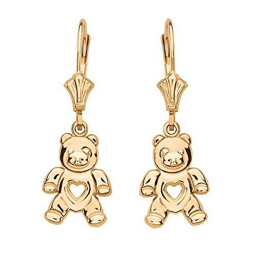 Solid 10k Yellow Gold Love Teddy Bear Leverback Earrings
