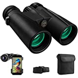 Cayzor 12x42 Binoculars for Adults Compact HD Clear Weak Light Vision Bird Watching – Professional for Travel Stargazing Hunting Concerts Sports - BAK4 Prism FMC Lens Phone Mount Strap Carrying Bag
