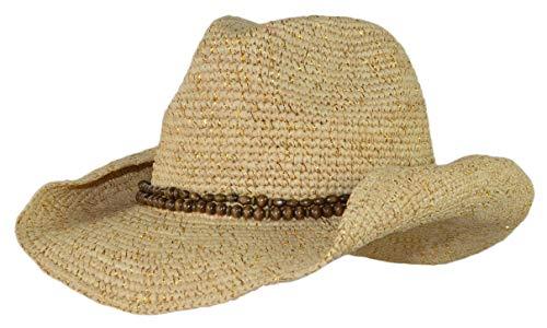 (Raffia Straw Sparkly Cowboy Hat, Shapeable Cowgirl Hat, Wooden Beaded Hatband w/Tie)