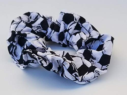 SOCCER, Pack of 2, Team coach, Soccer mom, Hair Scrunchies, COTTON, Sport Gift idea, Elastic Band