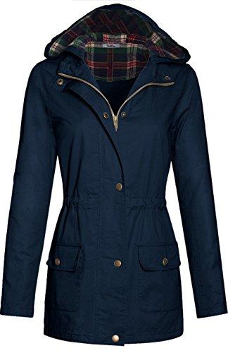 bodilove-womens-plaid-hooded-drawstring-waist-utility-jacket-navy-s-j2057-black