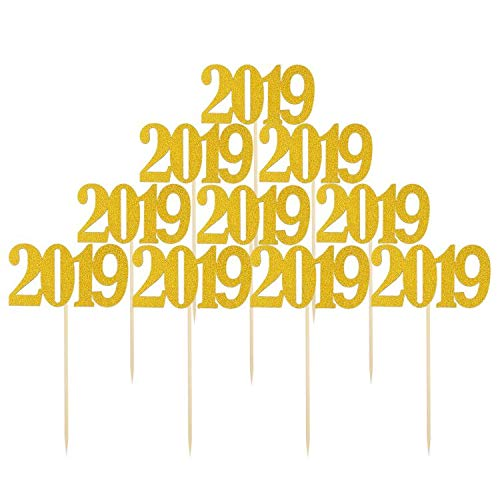 Price comparison product image JANOU 2019 Gold Glitter Cake topper Cupcake Toothpick Toppers for Wedding Birthday Graduation New Year Party Favors Pack 10pcs