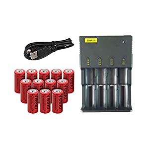 CR123A Rechargeable Batteries and 4-slot Universal LCD Battery Charger, Veeki 16340 RCR123A 3.7V 650mah High-capacity Li-ion Protected Battery 12 PCS Perfect Power for Flashlight Photo Camera and More