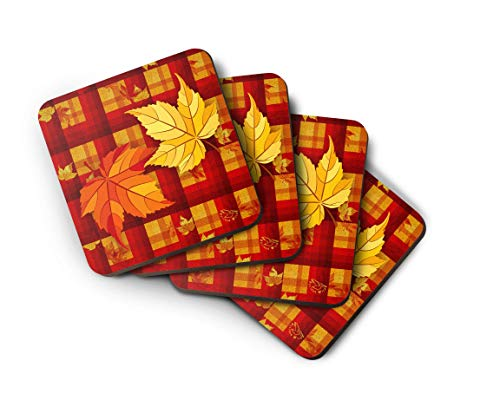 - Thanksgiving Coasters with Autumn Leaves, Fall Colors Seasonal Table Decor, Set of 4.
