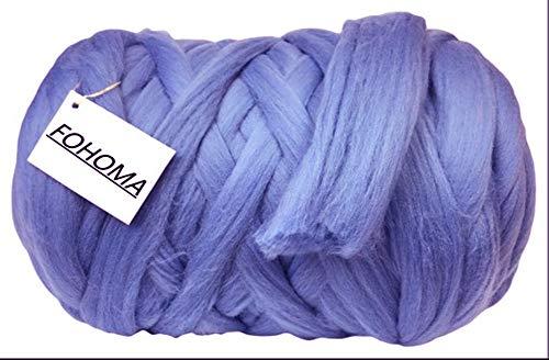 Giant Wool Yarn Chunky Arm Knitting Super Soft Wool Yarn Bulky Wool Roving (2 kg/4.4 lbs, Blue Violet) ()