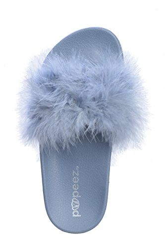 1384075e114e Pupeez Girls Open Toe Flip Flop Slide Slippers with Soft Faux Fur Top and Hard  Sole