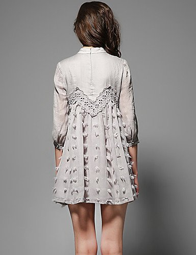 PU&PU Robe Aux femmes Trapèze Street Chic,Couleur Pleine Mao Maxi Lin , gray-2xl , gray-2xl