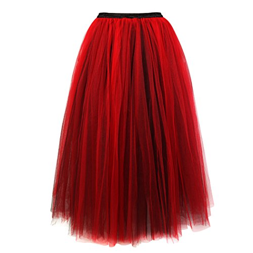 Women's Valentines Hi-Lo Tutu Petticoat Skirt for Wedding Dancing Party Negro rojo