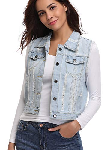 MISS MOLY Womens Denim Vest Button Casual Sleeveless Washed Jean Jacket Light Blue S