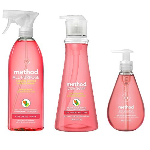 Method's Naturally Derived Kitchen Essentials Bundle, Pink Grapefruit: Hand Soap 12 oz, Dish Soap 18 oz. & Surface Cleaner 28 oz. ()