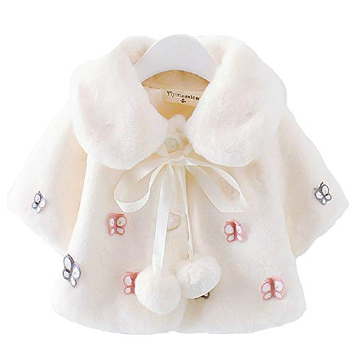 Diougens Lee Baby Girl Fur Winter Warm Coat Cloak Jacket Thick Warm Outwear Clothes (White, 100 cm) (The Winter Mant)