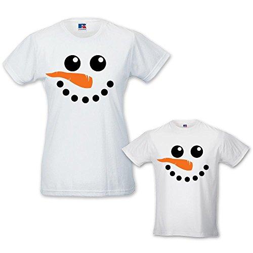 Coppia di T-shirt Donna Bambino Idea Regalo di Natale Snowman Bianche Donna M - Bimbo 3-4 Anni