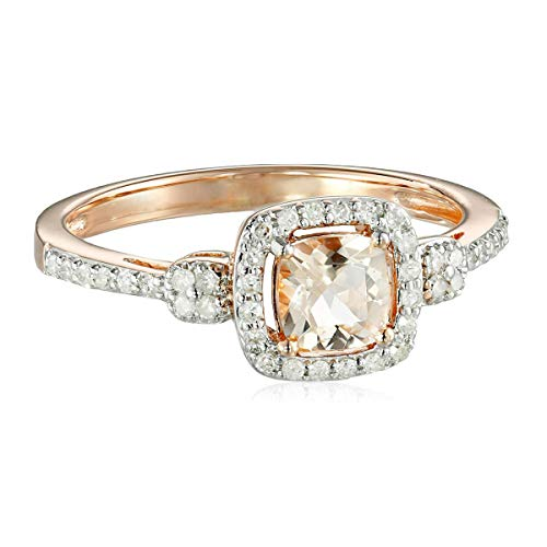 - 10k Pink Gold Morganite and Diamond (1/4cttw) Cushion Ring, Size 7