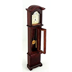 Dolls House Miniature Working Quartz Mahogany Grandfather Clock by Town Square Miniatures