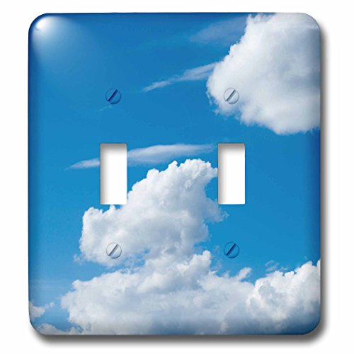 Cirrus Plate - 3dRose Alexis Photography - Nature Sky - Cumulus and cirrus clouds, blue sky, good weather - Light Switch Covers - double toggle switch (lsp_271921_2)