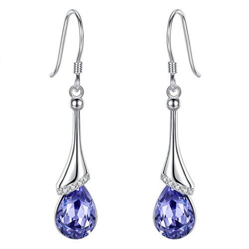 EVER FAITH 925 Sterling Silver CZ Elegant Teardrop Chandelier Hook Dangle Earrings Purple Adorned with Swarovski crystals ()