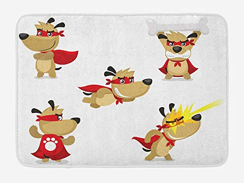 LnimioHOX Dog Bath Mat, Superhero Puppy with Paw Costume and Mystic Powers Laser Vision Supreme Talents, Plush Bathroom Decor Mat with Non Slip Backing, 30INCHES Wide x 18 INCHES Long, Cream]()