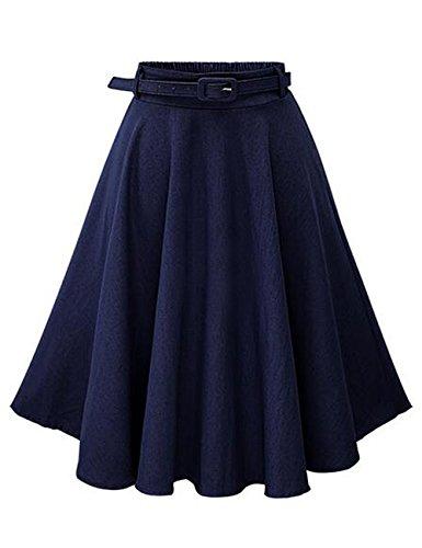 Dark Denim Mini Skirt (Leadingstar Women's Retro Vintage Pleated Denim Party Skater Skirt A Line Jeans Skirt with Belt-Dark Blue)