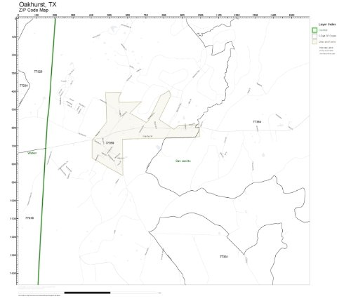 ZIP Code Wall Map of Oakhurst, TX ZIP Code Map Laminated for sale  Delivered anywhere in USA
