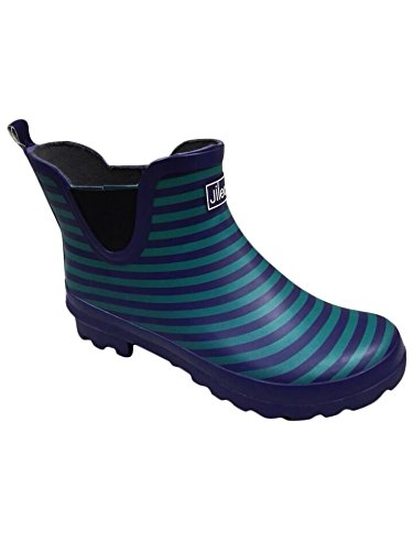 Blue Stripe Ankle Wellies - Wide Foot EEE Fit - Ideal for Wide Calves and Feet (8)