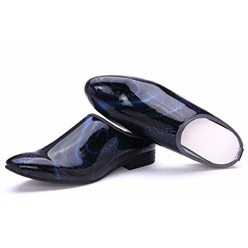 Pinuo 2016 Versione Coreana Della Tendenza Di Pantofole Da Uomo Mezzo Parrucchiere Discoteca In Pelle Scarpe Blu