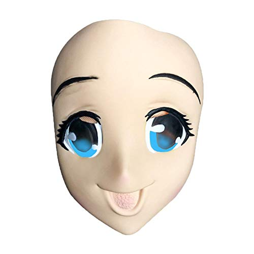Halloween Big-Eyed Girl Latex Mask for 3D Cosplay Costume Party ()