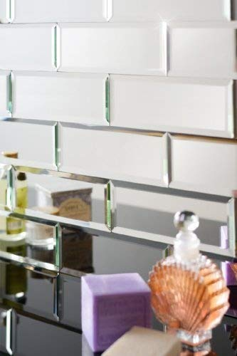 MY-Furniture Silver mirrored mirror bevelled wall tiles - brick sized - ideal Bathroom Kitchen TILES-M-1