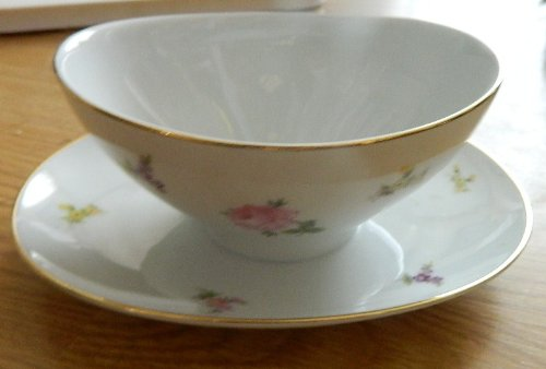 Johann Haviland Rose Chintz Gravy Boat with Attached Underplate - gold trim Gold Trim Gravy Boat