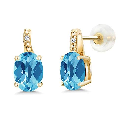 Gem Stone King 2.61 Ct Oval Checkerboard Swiss Blue Topaz White Diamond 10K Yellow Gold Earrings